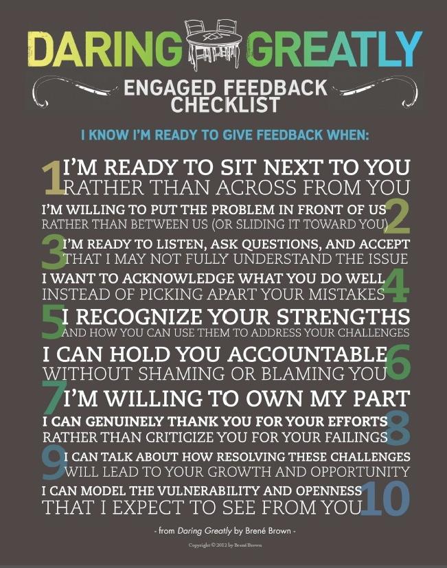 Engaged feedback checklist